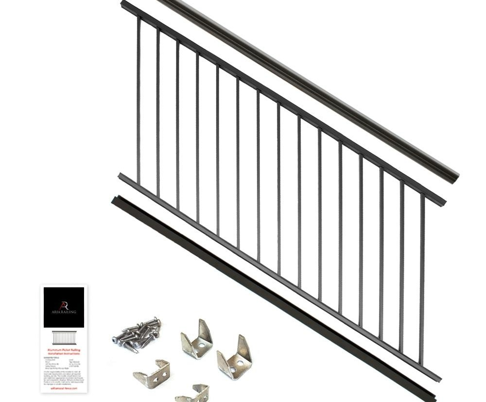 Aria Railing 36 In X 6 Ft Black Powder Coated Aluminum | Black Outdoor Stair Railing | Interior Stair | Modern | Pipe | Composite Deck | 2 Step