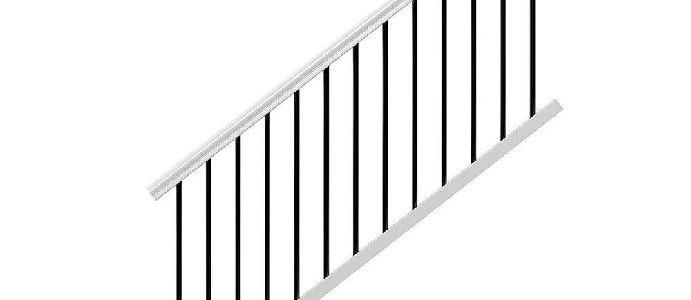Veranda Traditional 6 Ft X 36 In White Polycomposite Stair Rail | Metal Stair Railing Home Depot | Cast Iron Handrail | Porch Railings | Spindles | Balusters | Aluminum Railing