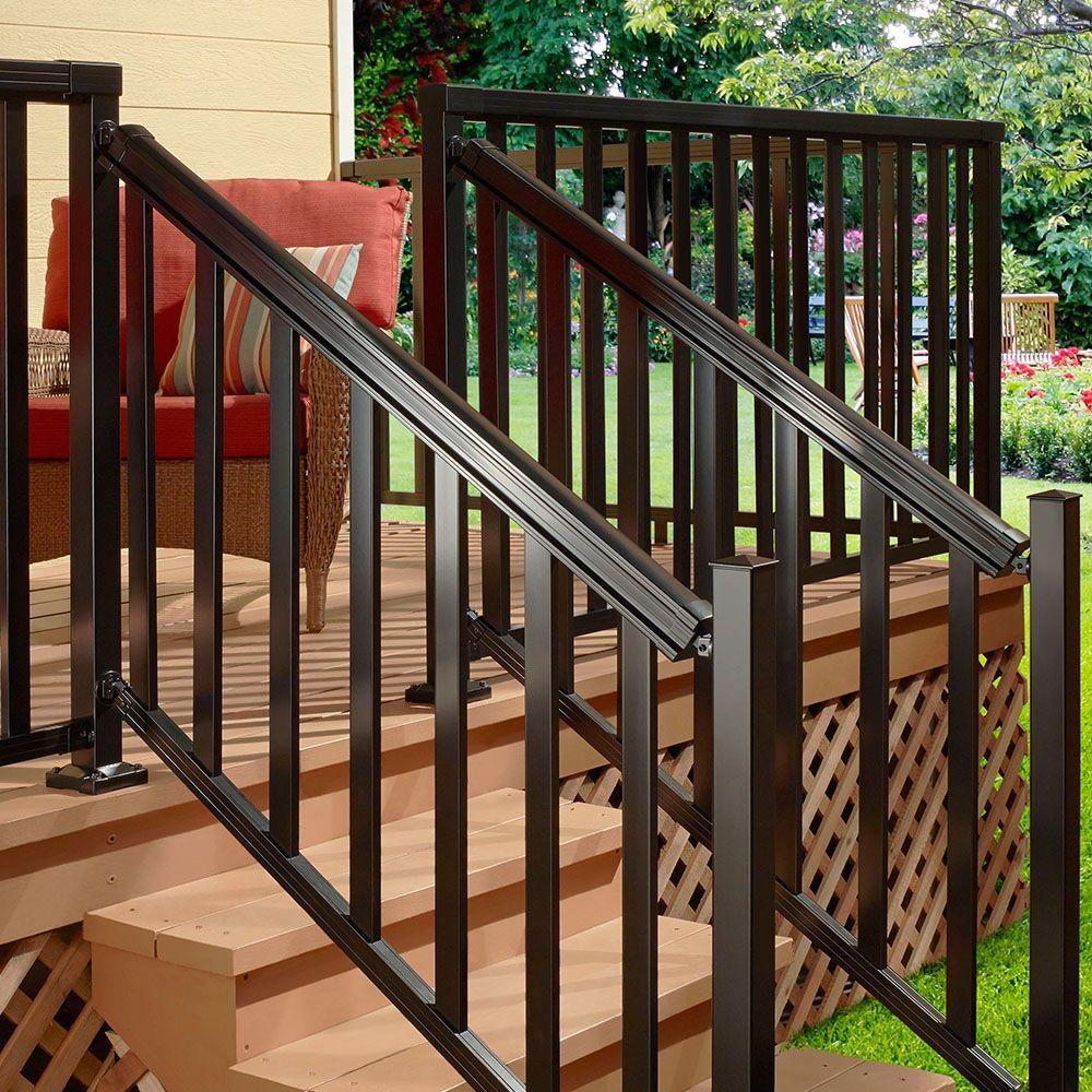 Peak Aluminum Railing Black 6 Ft Aluminum Stair Hand And Base | Home Depot Hand Railing Exterior | Composite | Pressure Treated | Wrought Iron Railing | Baluster | Metal