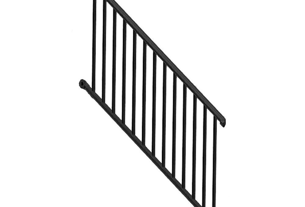 Weatherables Classic Square 3 Ft H X 97 1 4 In W Textured Black   Home Depot Stair Handrail   Aluminum Stair   Wood   Balusters   Porch Railings   Oak Stair