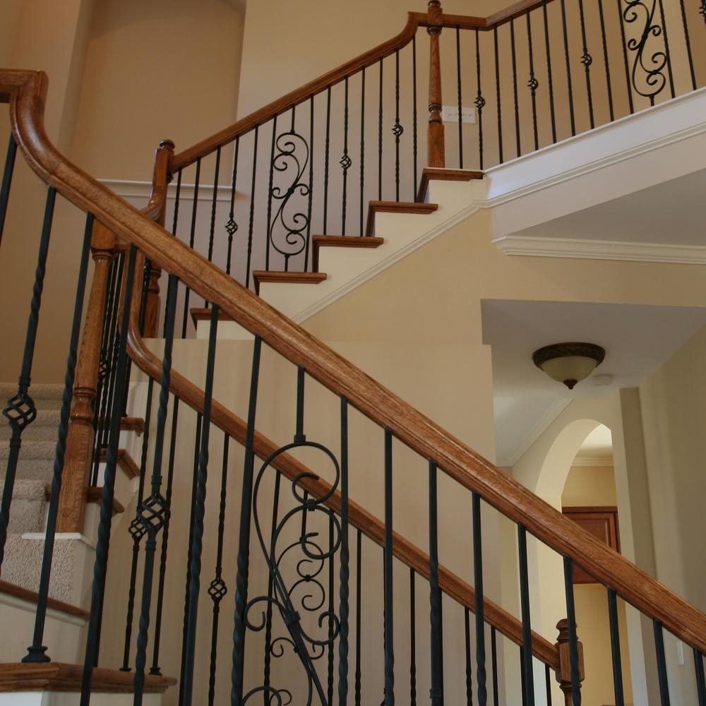 Stair Parts 44 In X 5 In Satin Black Decorative Scroll Metal   Home Depot Metal Balusters   Cedar   Rubbed Bronze   Wrought Iron Balusters   Staircase   Spindles
