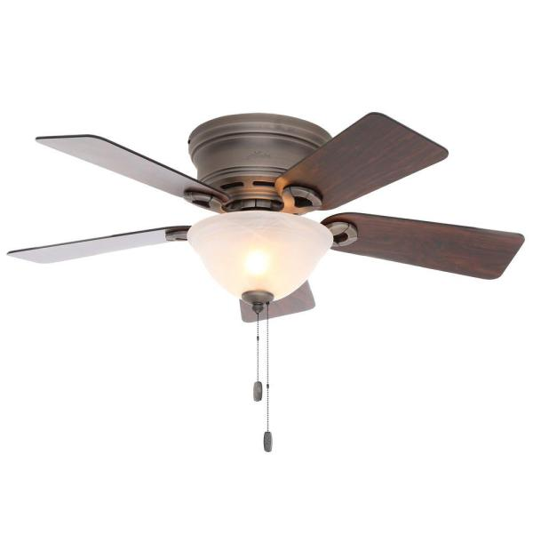 Hunter Conroy 42 in  Indoor Antique Pewter Low Profile Ceiling Fan     Indoor Antique Pewter Low Profile Ceiling Fan with Light Kit