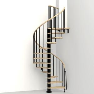 Arke Phoenix Black 47 In Spiral Staircase Kit K07082 The Home Depot | Installing A Spiral Staircase | Bottom | Rectangular | Alcove | 20 Step | Circular