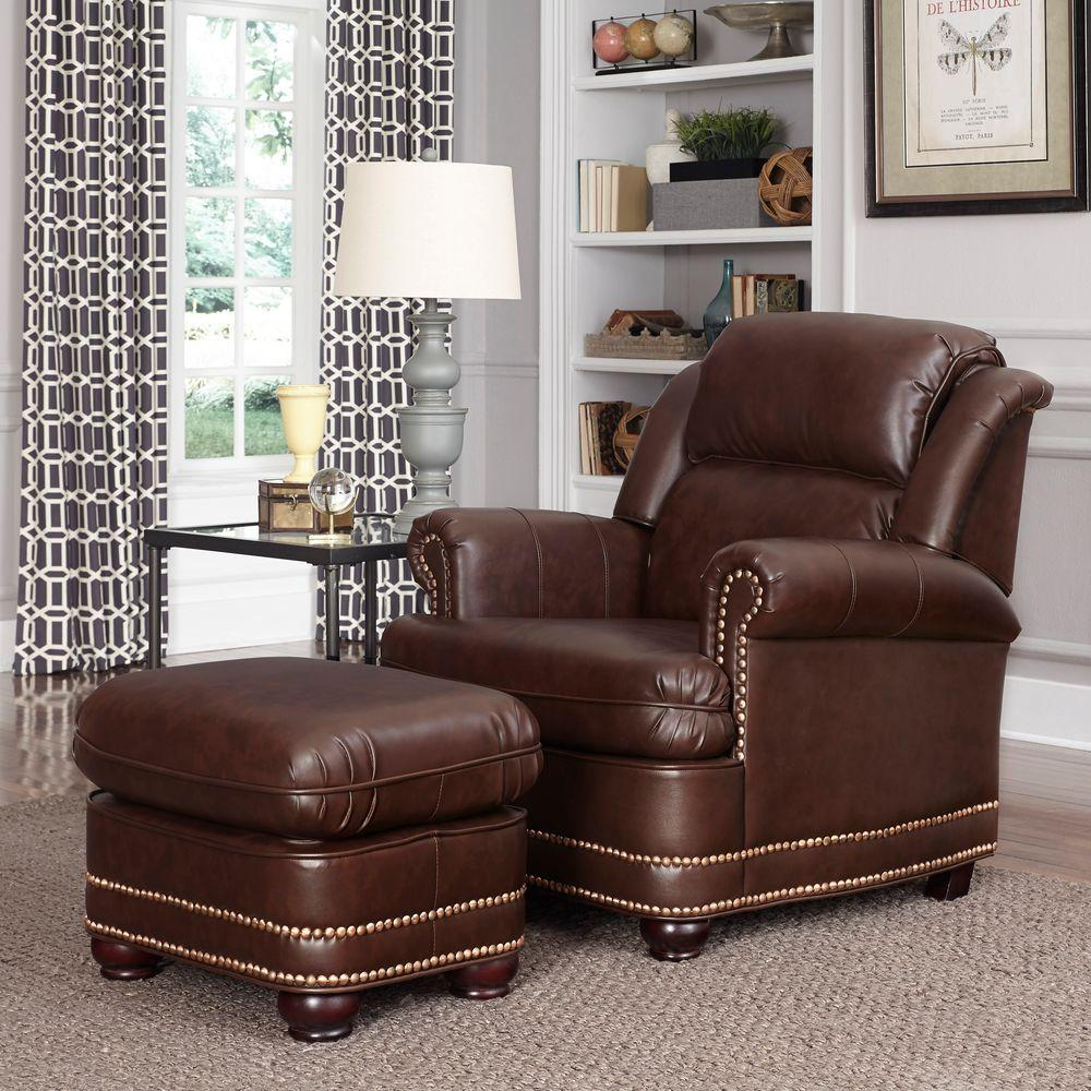Chair Accent Brown Ottoman