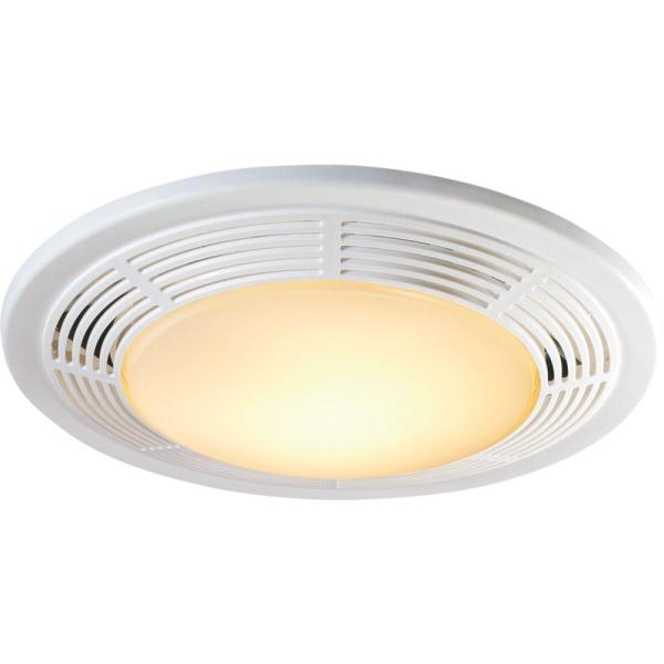Bath Fans   Bathroom Exhaust Fans   The Home Depot Decorative White 100 CFM Ceiling Exhaust Fan with Light and Night