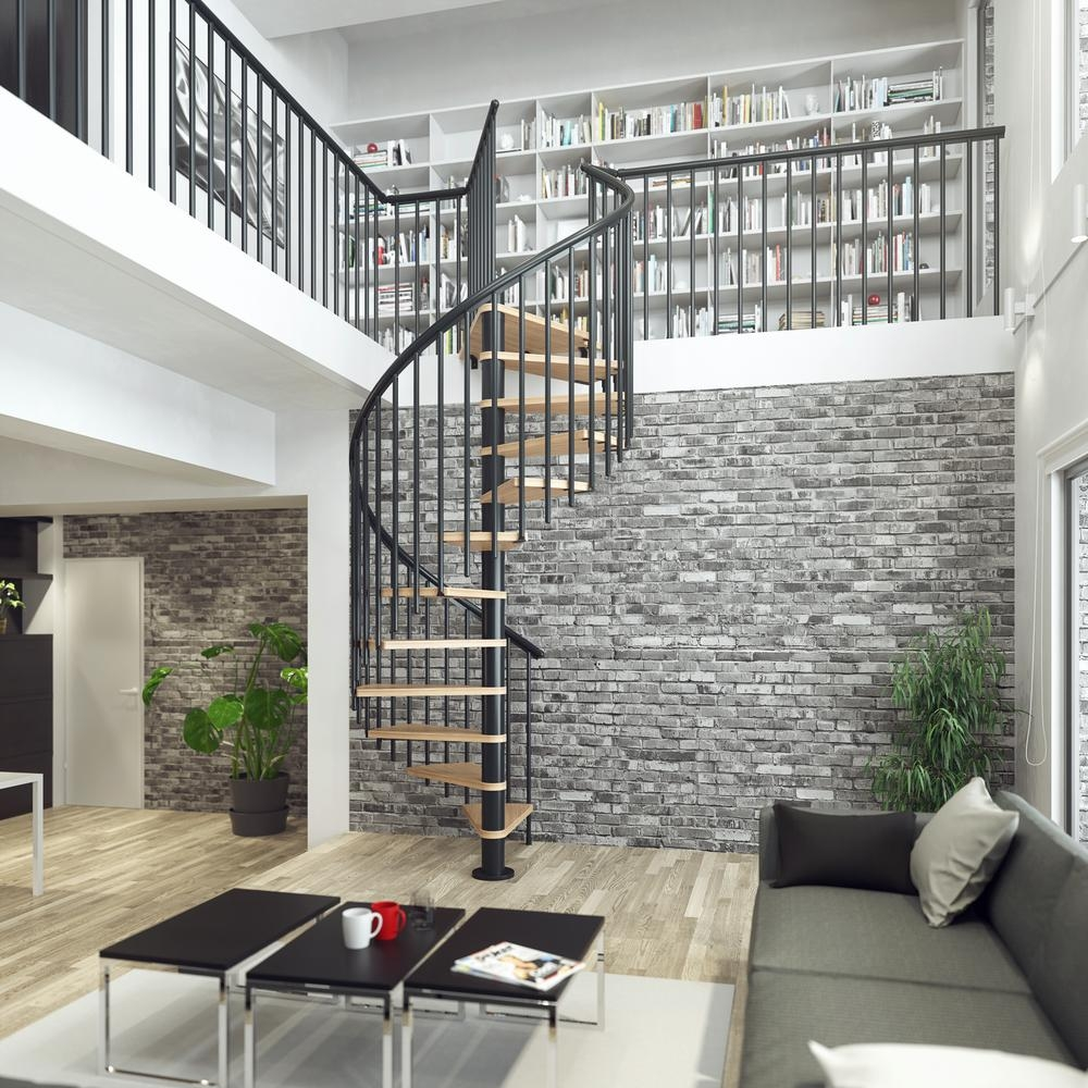 Dolle Calgary Black 55 In Dia 2 Extra Baluster Stair Kit 110 In | Spiral Staircase 2 Floors | 8 Ft | Interesting | Spiral Shaped | Outdoor | Wooden