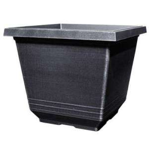 Modern   Pot   Silver   Plant Pots   Planters   The Home Depot 14 in  Torino Square Silver Plastic Planter