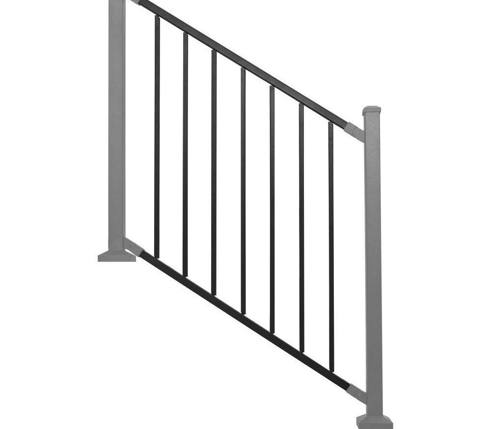 Railing Panel Black Metal Stair Rdi Common 8 Ft X 32 In | Home Depot Handrails For Steps | Metal | Pressure Treated | Balusters | Stair Parts | Deck Stair