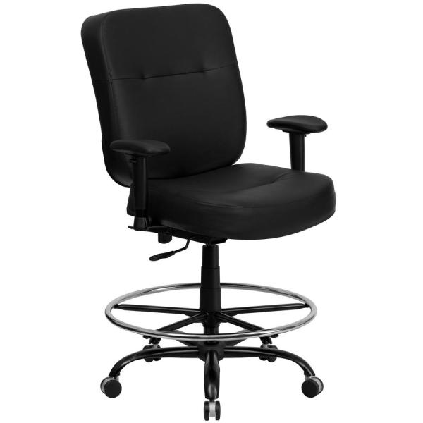 Flash Furniture Black Leather Office Desk Chair WL735SYGBKLEAAD     Flash Furniture Black Leather Office Desk Chair