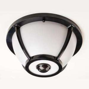 Motion Sensing   Outdoor Ceiling Lighting   Outdoor Lighting   The     360 Degree Matte Black Round Integrated LED Motion Sensing Outdoor Flush  Mount