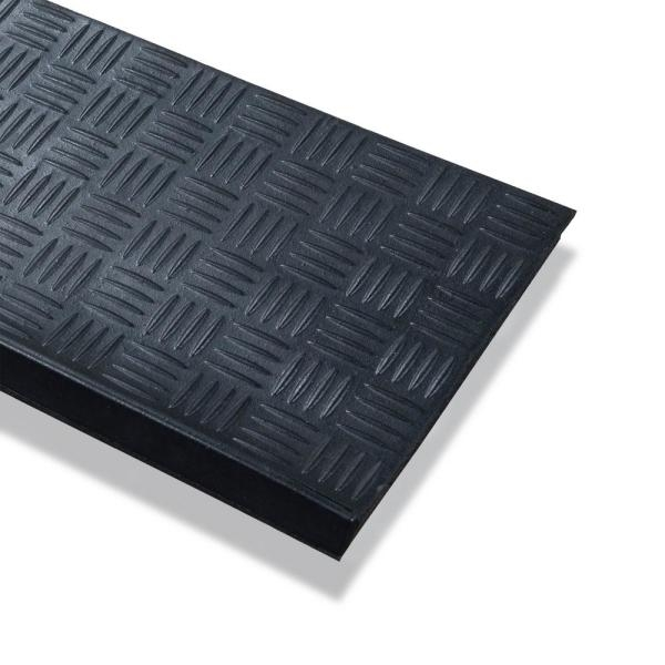 Ottomanson Dirt Off Black Square Nosed 18 In X 30 In Rubber   Outdoor Stair Treads Home Depot   Vinyl Stair Risers   Cedar Tone   Square Nose Stair   Carpet   Non Slip