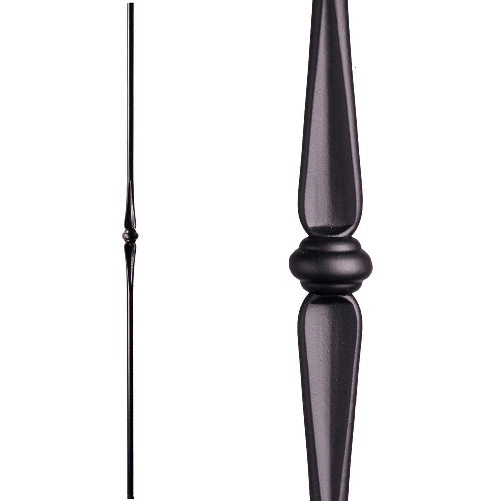 House Of Forgings Round 44 In X 5625 In Satin Black Single   Wrought Iron Balusters Home Depot   Silver Vein   Oil Rubbed Bronze   Solid Wrought   Baluster Railing   Tuscan Round