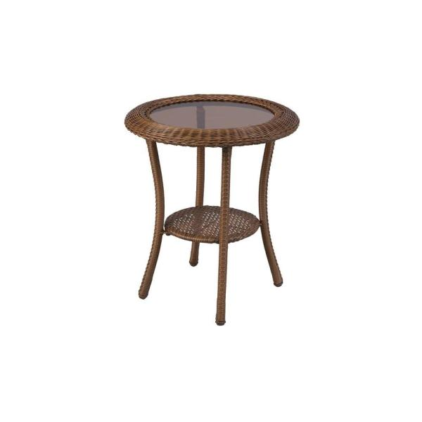 Hampton Bay Spring Haven 20 in  Brown All Weather Wicker Patio Round     Brown All Weather Wicker Patio Round Side Table