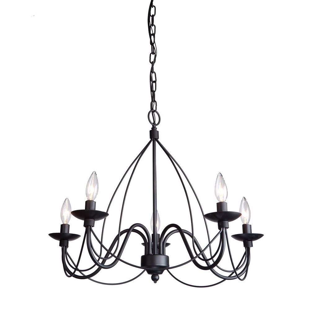 Renous 5light black chandelier9862p205101 the home depot