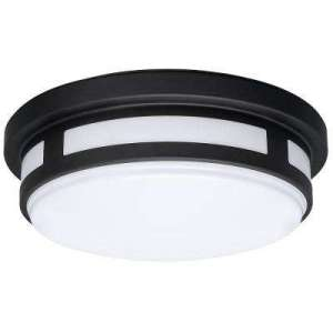 Outdoor Ceiling Lighting   Outdoor Lighting   The Home Depot Round Black Integrated LED Outdoor Flush Mount with Color Selectable Feature
