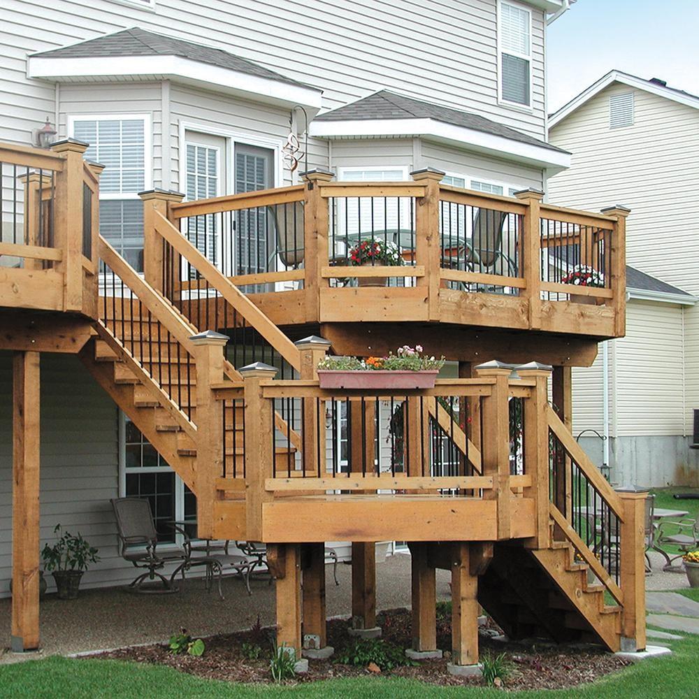 3 Step Pressure Treated Cedar Tone Pine Stair Stringer 211690 | Outside Steps For Sale | Wood | Iron | Handrail | Pensacola | Door