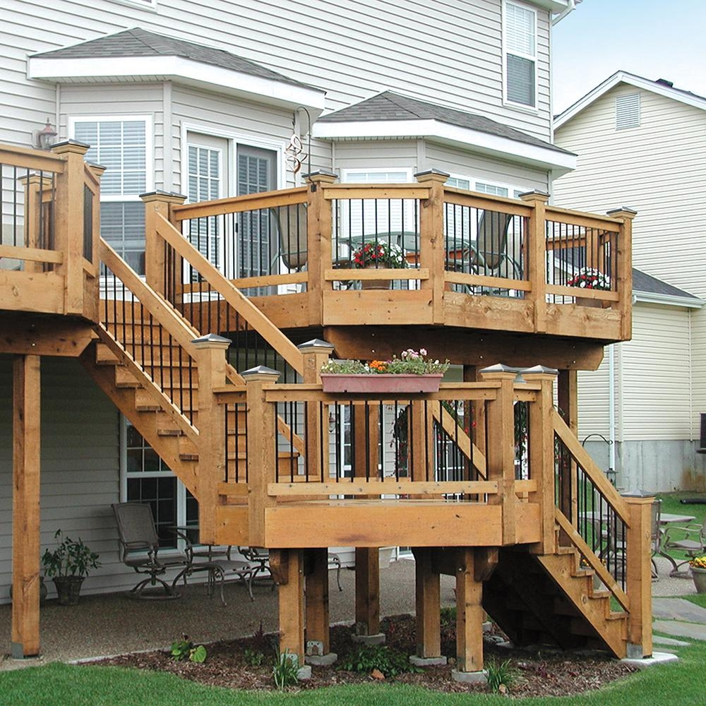 2 Step Pressure Treated Cedar Tone Pine Stair Stringer 215726   Pre Built Stairs Outdoor   House   Stand Alone   Outside   Building   Cement