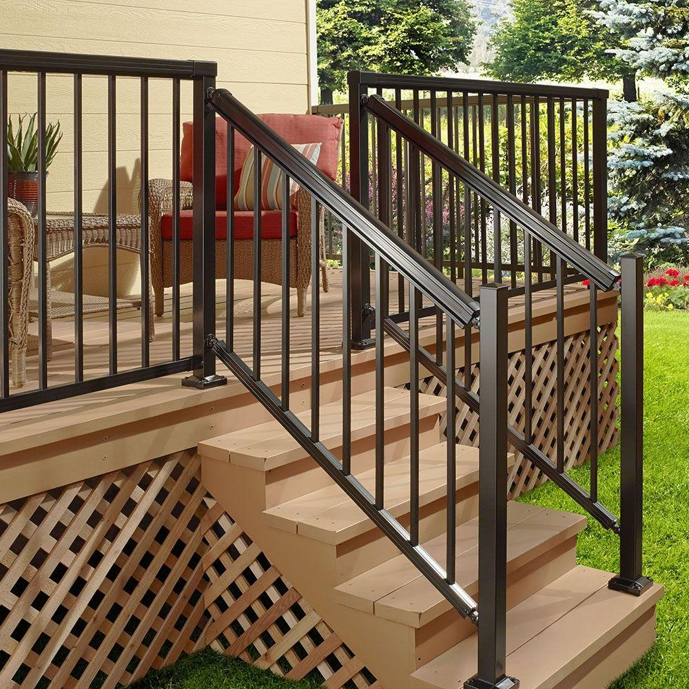 Peak Aluminum Railing 6 Ft Black Aluminum Stair Picket And Spacer   Installing Aluminum Stair Railing   Baluster   Deck Stair   Balcony Deck   Railing Systems   Pressure Treated