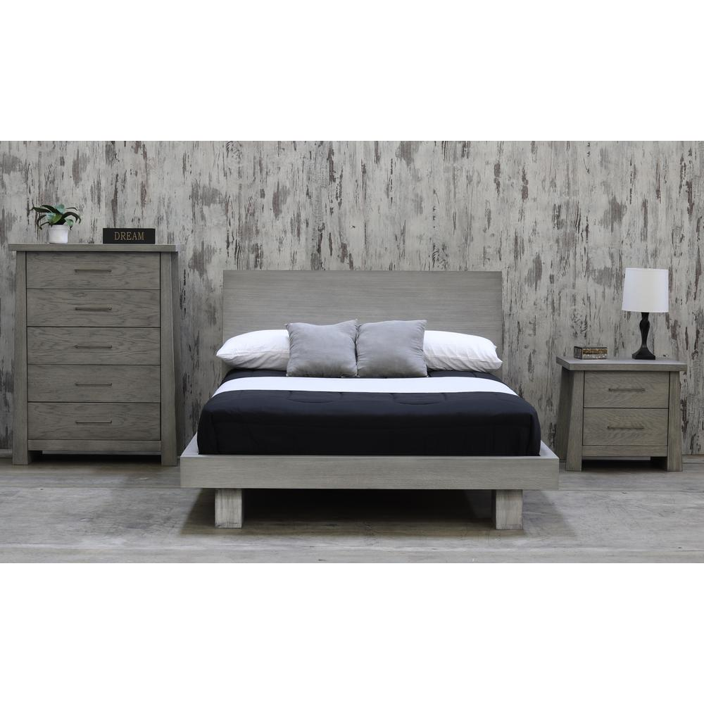 Fusion Driftwood Queen Headboard Platform Bed 8127DW   The Home Depot Fusion Driftwood Queen Headboard Platform Bed
