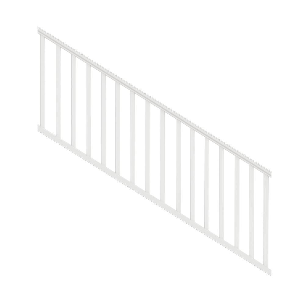 Veranda Traditional 8 Ft X 36 In White Polycomposite Stair Rail | Home Depot Handrails For Outdoor Steps | Wrought Iron Stair | Pressure Treated | Porch Railings | Metal | Railing Ideas