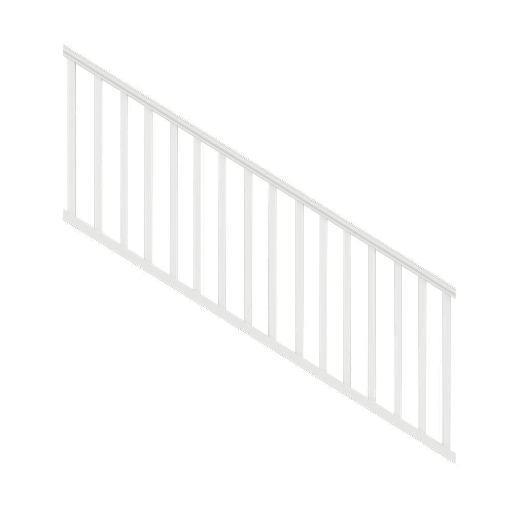 Veranda Traditional 8 Ft X 36 In White Polycomposite Stair Rail   Step Railings Home Depot   Tuffbilt   Rail Kit   Deck Stair   Deck   Aluminum Balusters