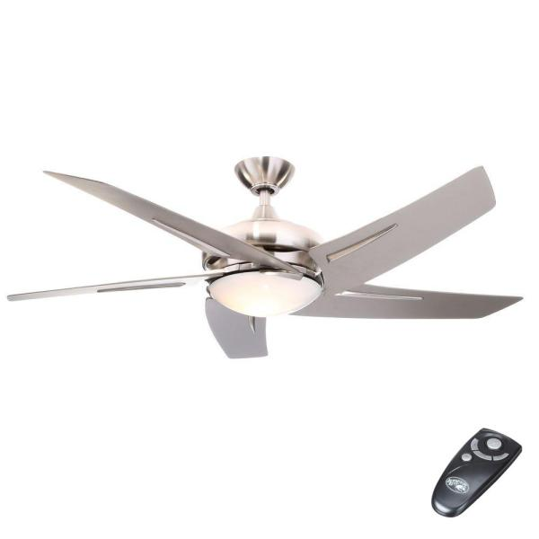 Hampton Bay Sidewinder 54 in  Indoor Brushed Nickel Ceiling Fan with     Indoor Brushed Nickel Ceiling Fan with Light Kit and Remote