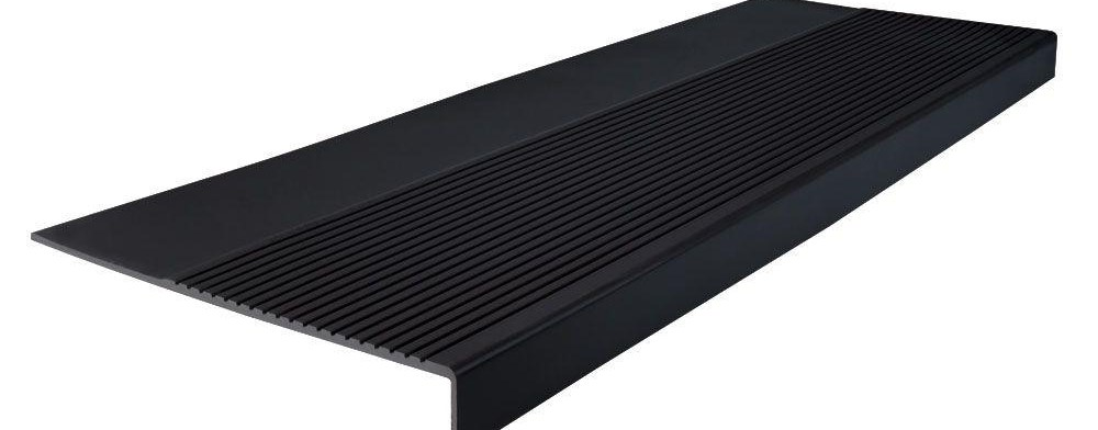 Roppe Light Duty Ribbed Design Black 12 1 4 In X 48 In Rubber | 48 Inch Outdoor Stair Treads | Unfinished Pine | Nose Stair | Mat | Rubber Stair | Non Slip