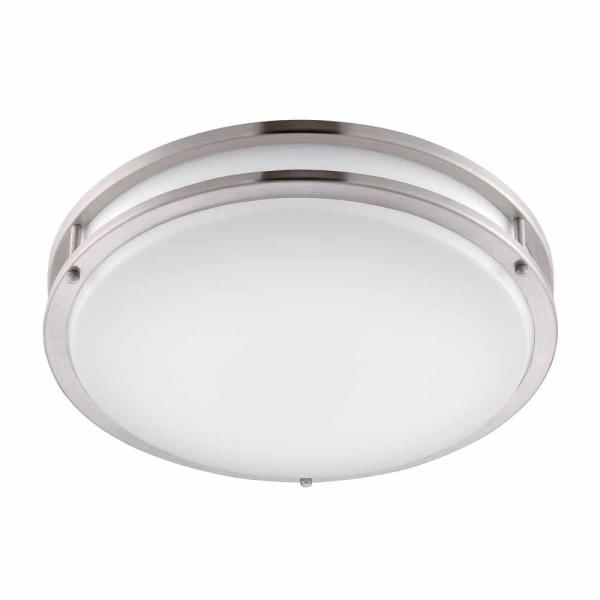 Hampton Bay Brushed Nickel LED Round Flushmount DC016LEDA   The Home     Hampton Bay Brushed Nickel LED Round Flushmount