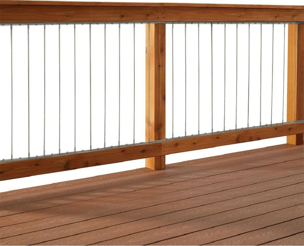 Vertical Stainless Steel Cable Railing Kit For 36 In High | Wood Handrail Home Depot | Redwood Deck Railing | Treated Lumber | Deck Stair Handrail | Outdoor | Oak Stair