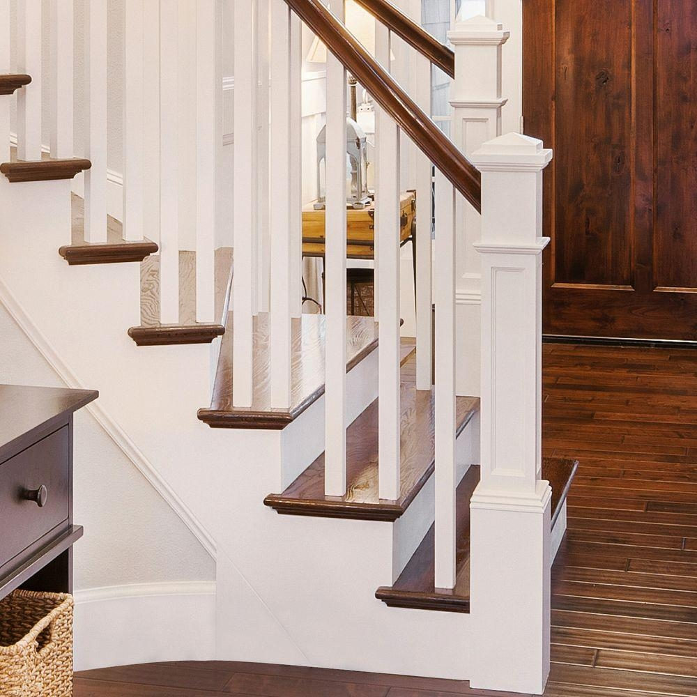 Stair Parts 4093 55 In X 6 25 In Poplar Flat Panel Box Newel   Flat Handrail For Stairs   Code Compliant   Stainless Steel Flat Bar   Type 2   Top   Flat Iron