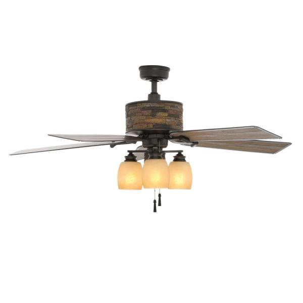 Hampton Bay Ellijay 52 in  Indoor Outdoor Natural Iron Ceiling Fan     Indoor Outdoor Natural Iron Ceiling Fan with Light Kit