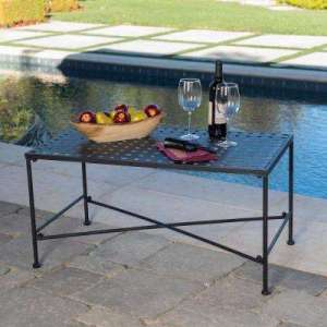 Rectangle   Cast Iron   Patio Tables   Patio Furniture   The Home Depot Petra Black Rectangle Metal Outdoor Coffee Table