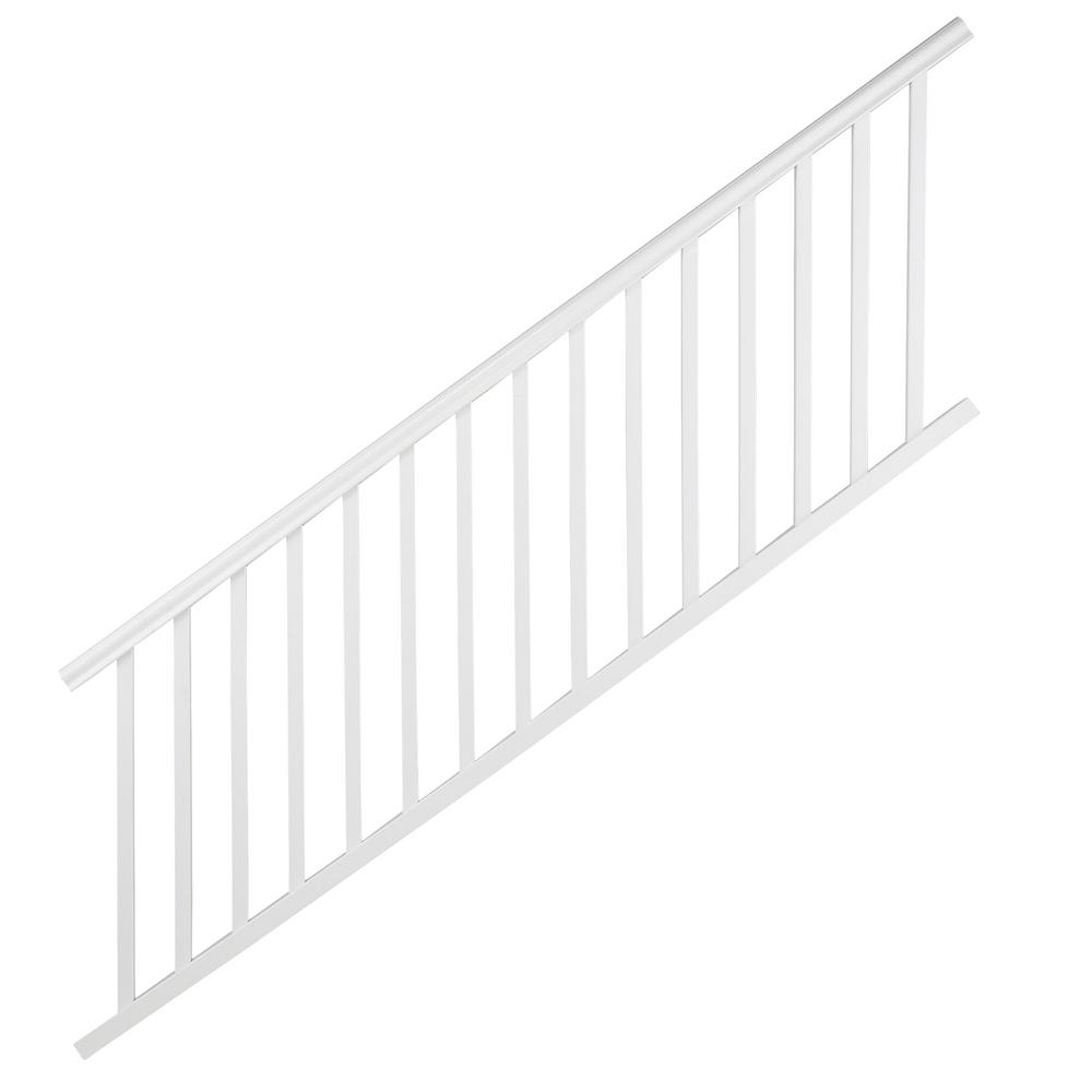 Veranda Traditional 8 Ft X 36 In White Polycomposite Stair Rail | Outdoor Railings For Steps | Design | Hand | Porch | Front Door | Simple