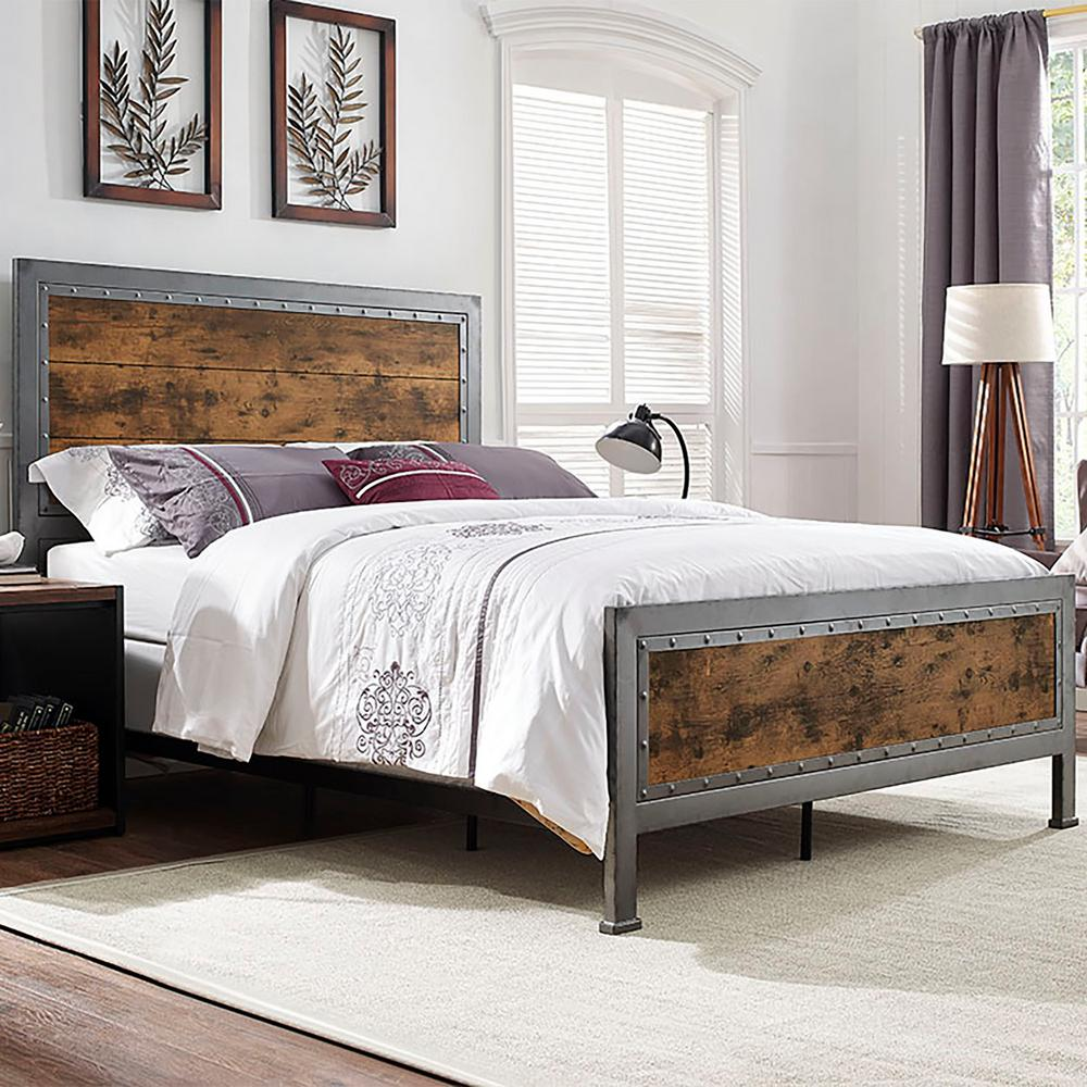 Walker Edison Furniture Company Brown Queen Bed Frame HDQAWRW   The     Walker Edison Furniture Company Brown Queen Bed Frame