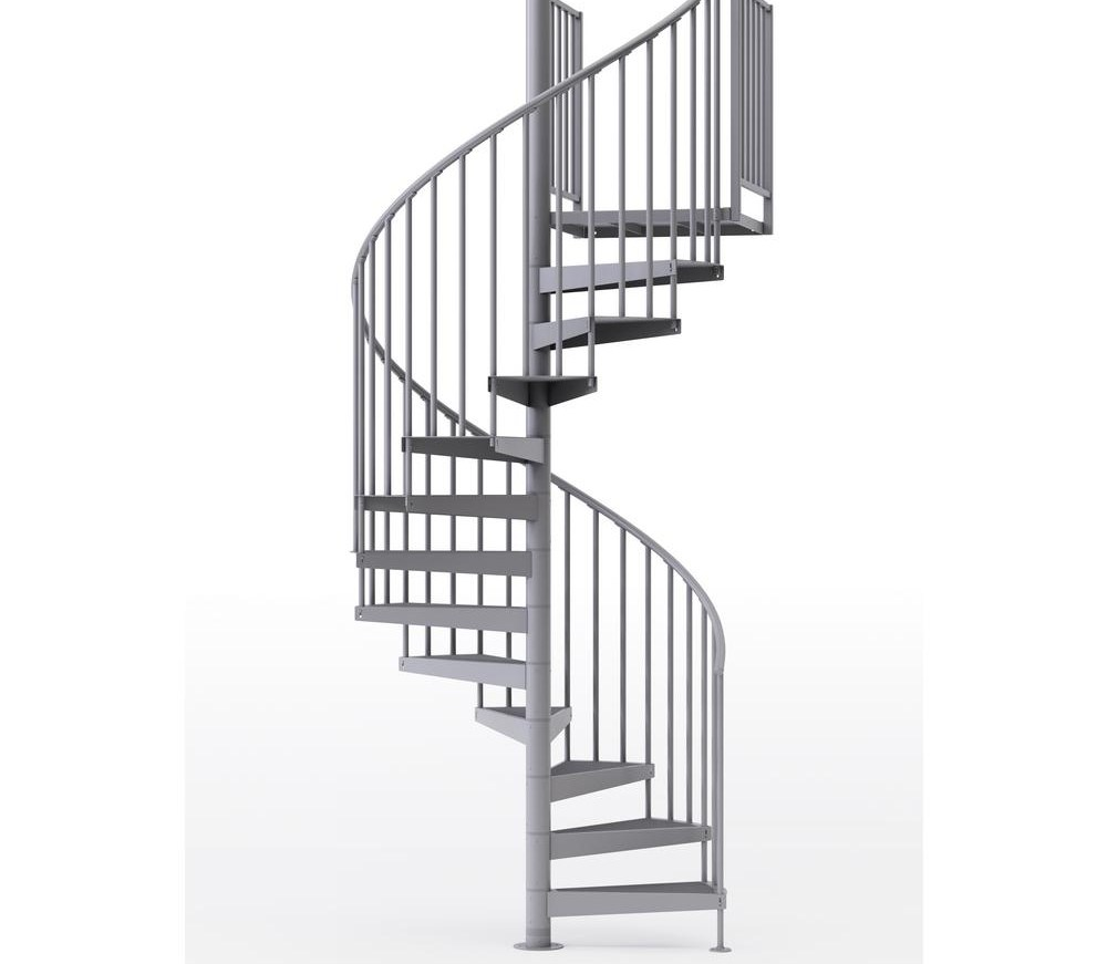 Mylen Stairs Condor Gray Interior 60 Diameter 9 Treads With 2 42 | 9 Foot Spiral Staircase | 36 Tall | Stair Kit | Modern Staircase | Dolle Toronto | Stair Parts