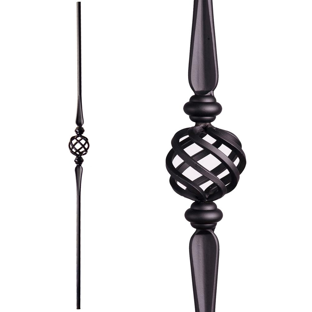 House Of Forgings Round 44 In X 625 In Satin Black | Metal Spindles Home Depot