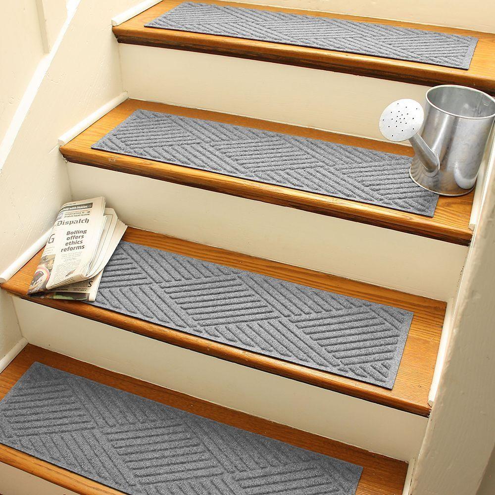 Aqua Shield Diamonds 8 5 In X 30 In Stair Treads Set Of 4 | Individual Carpet Stair Treads | Bullnose Carpet | Wood | Hardwood | Flooring | Spiral Staircase