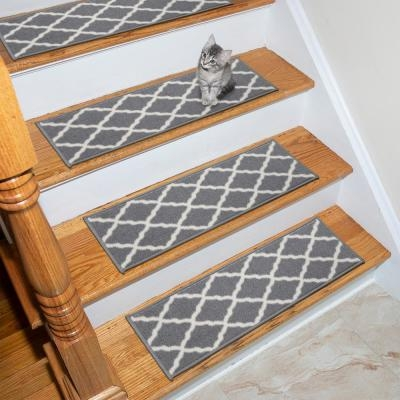 Non Slip Pad Stair Tread Covers Rugs The Home Depot | Wood Stairs Home Depot | Cedar Tone | Stair Handrail | Stair Riser | Wrought Iron | Carpeted Stairs