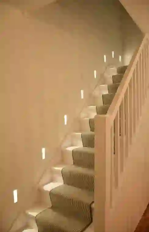 Simply The Best Stair Carpet Styles Homify Homify   Stairs With Carpet In The Middle   Modern   Popular   Laminate   Bright Striped   Royal Blue
