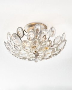 Crystal Ceiling Light Fixture   horchow com Quick Look  prodSelect checkbox  Crystal Ovals 3 Light Flush Mount Ceiling  Fixture