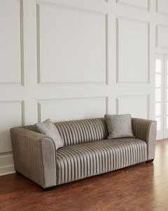 Bernhardt Kent Leather Channel Tufted Sofa