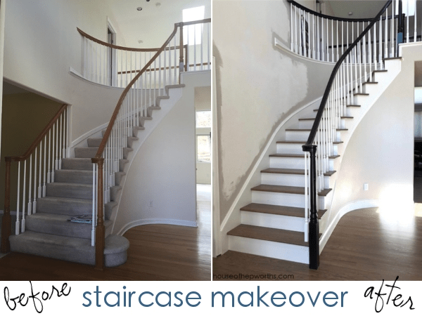 An Amazing Staircase Makeover From Carpet To Wood House Of   Carpet On Top Of Stairs Only   Stair Tread   Staircase Makeover   Stair Case   Handrail   Diy