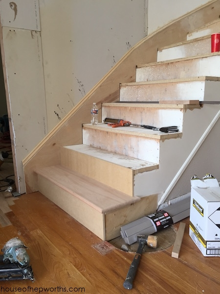 An Amazing Staircase Makeover From Carpet To Wood House Of | Best Hardwood For Stairs | Treads | Oak | Stair Tread | Stain | Laminate Flooring