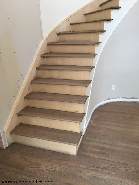 An Amazing Staircase Makeover From Carpet To Wood House Of | Oak Stairs With White Risers | Natural | Red Oak | Character | Hardwood | Dark Walnut Staircase