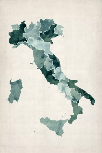 Watercolor Map of Italy Art Print by Michael Tompsett   iCanvas Watercolor Map of Italy by Michael Tompsett 1 piece Canvas Wall Art