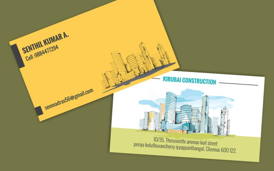 Contractor visiting card format   Business cards for builders Contractor visiting cards