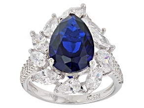 Spinel Jewelry  Shop Affordable Spinel Jewelry   JTV com Blue Synthetic Spinel And White Cubic Zirconia Rhodium Over Sterling Silver  Ring 7 62ctw
