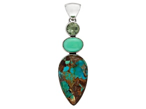 Artisan Collection  Artisan Jewelry and More   JTV com Blue Boulder Turquoise Sterling Silver Pendant 1 80ct