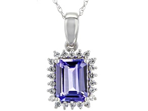 Pendants  Affordable Pendant Necklaces Online   JTV com Blue tanzanite 10k white gold pendant with chain 1 63ctw