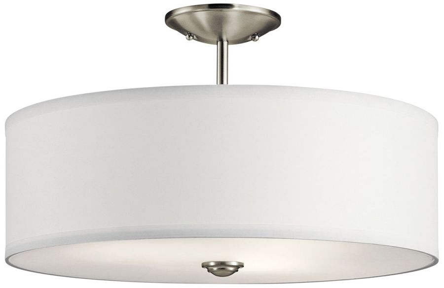 Shailene 18  Wide Brushed Nickel Drum Ceiling Light    43X91   Lamps     Shailene 18  Wide Brushed Nickel Drum Ceiling Light